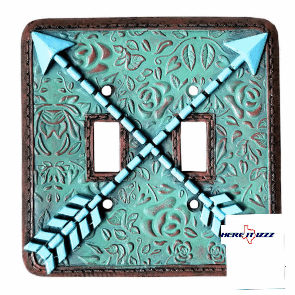 Southwestern Arrow Turquoise Flower  Double Switch Plate