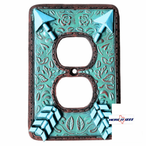 Southwestern Arrow Turquoise Flower  Outlet Cover