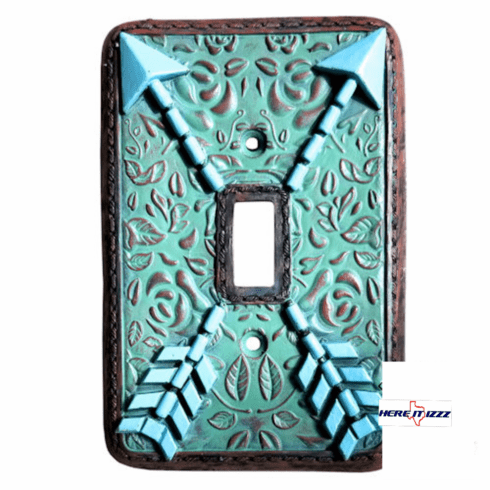 Southwestern Arrow Turquoise Flower Single  Switch Plate