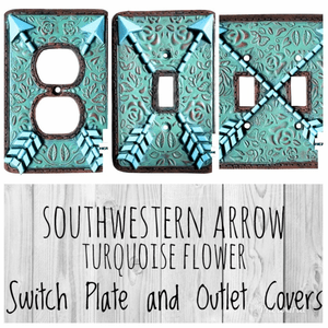 Southwestern Arrow Turquoise Flower Switch Plate and Outlet Covers