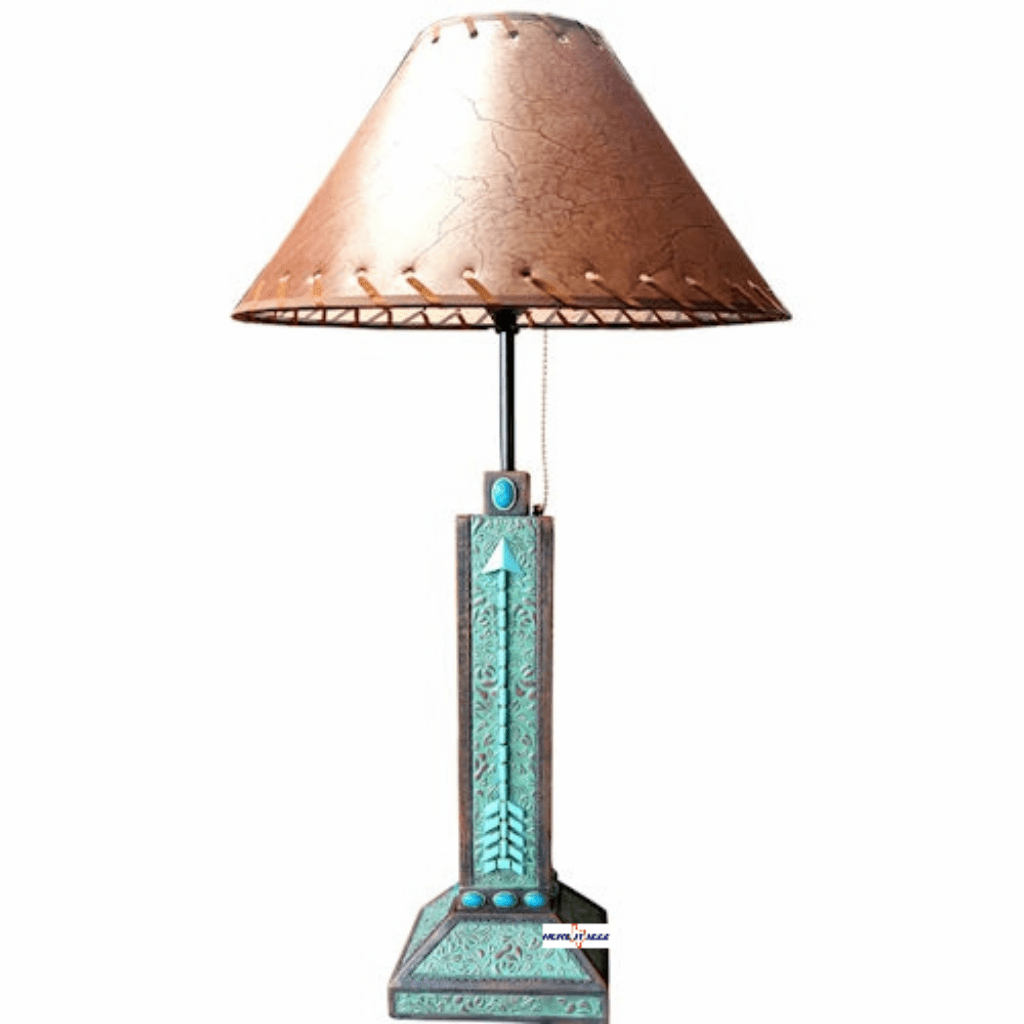 Southwestern Arrow Turquoise Flowers Lamp