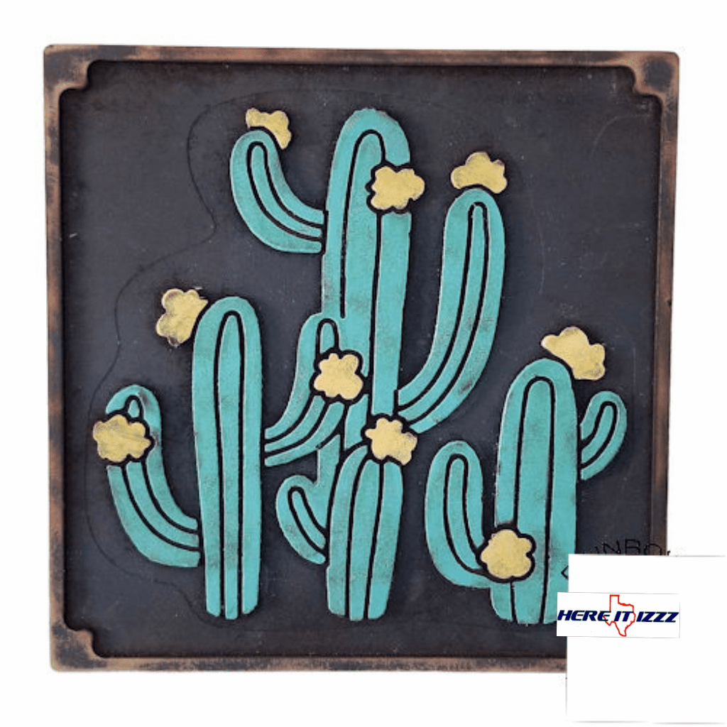 Southwestern Cactus Wall Art On Wood