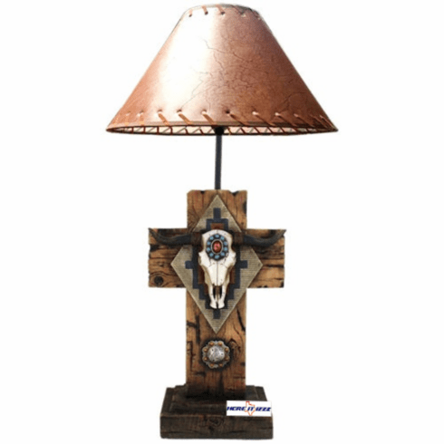 Southwestern Cow Skull Cross Lamp