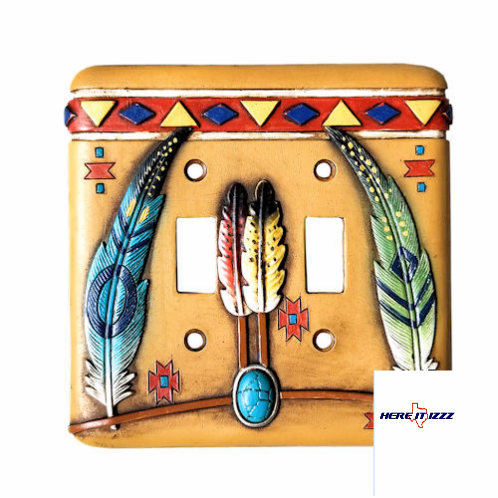 Southwestern Feather with Turquoise Double Switch Cover
