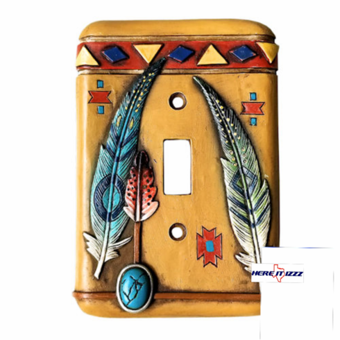 Southwestern Feather with Turquoise Single Switch Cover