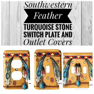 Southwestern Feather with Turquoise Stone Switch Plates and Outlet Cover