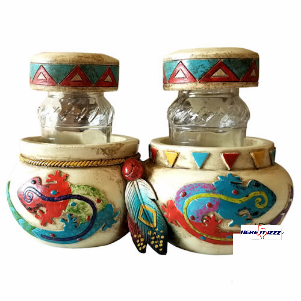 Southwestern Gecko Salt and Pepper Shaker Holder
