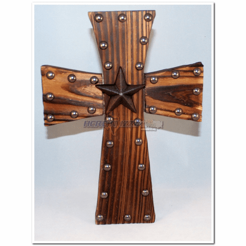 Stained Rustic Star Wood Cross
