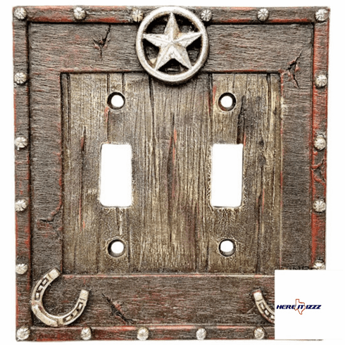 Star Horseshoe Double Light Switch Plate