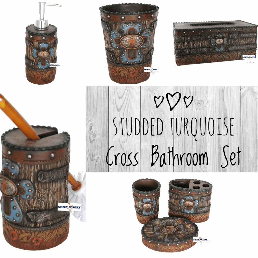 Studded Turquoise Cross Bath Set