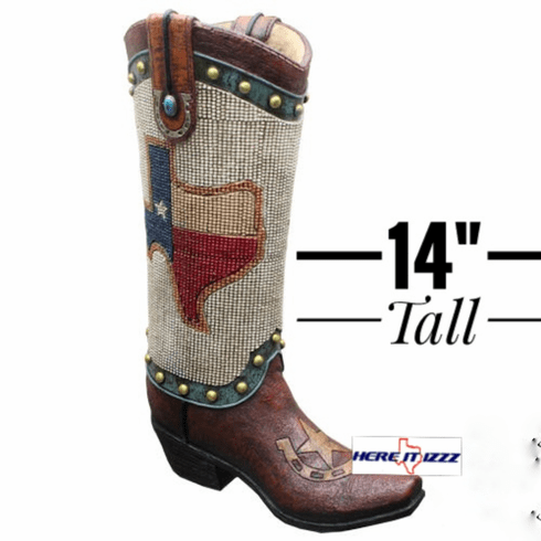Texas Beaded Boot Vase