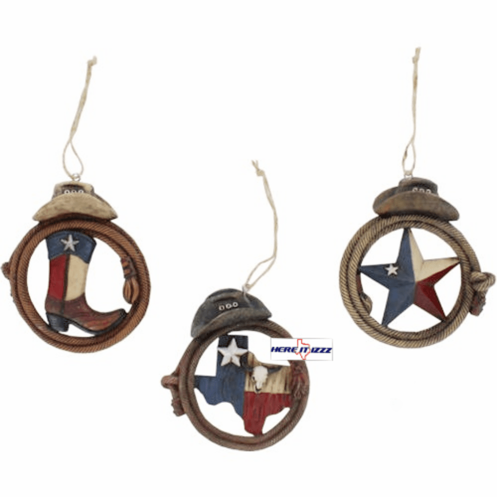 Texas Boot Flag 3 Piece Christmas Ornaments