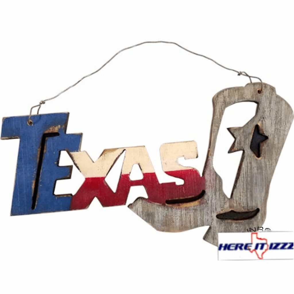 Texas  Boots Wooden Hanging Sign