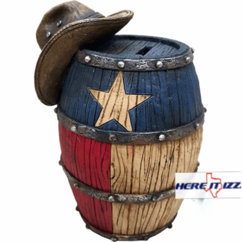 Texas Cowboy Hat W/barrel Piggy Bank