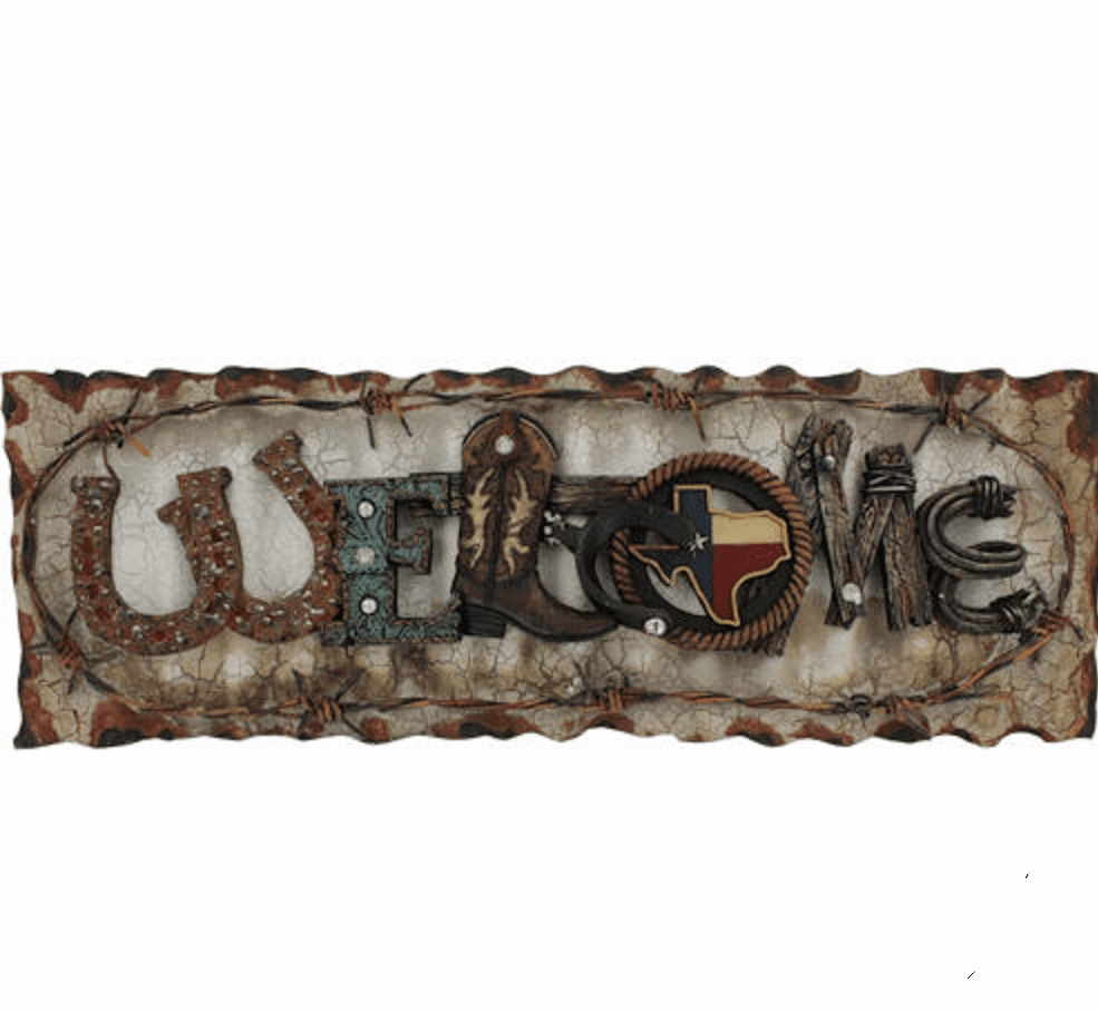 Texas Flag Barn Tin Barb Wire Welcome Sign
