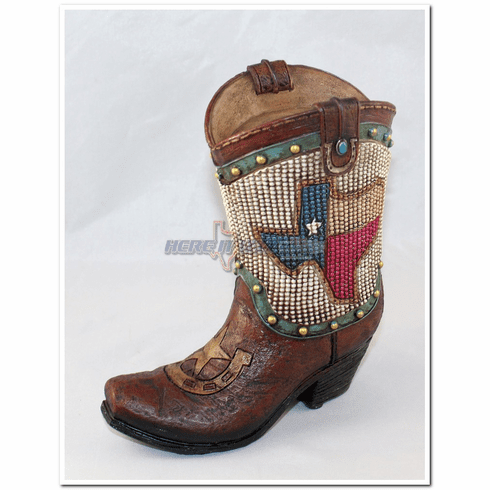 Texas Flag Beaded Boot Coin Bank