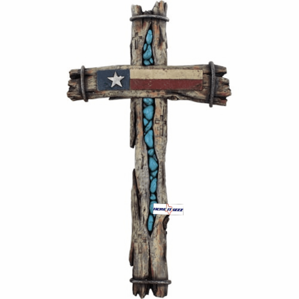 Texas Flag Turquoise​ Rock Cross