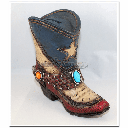 Texas Flag Turquoise Stone Boot  Piggy Bank