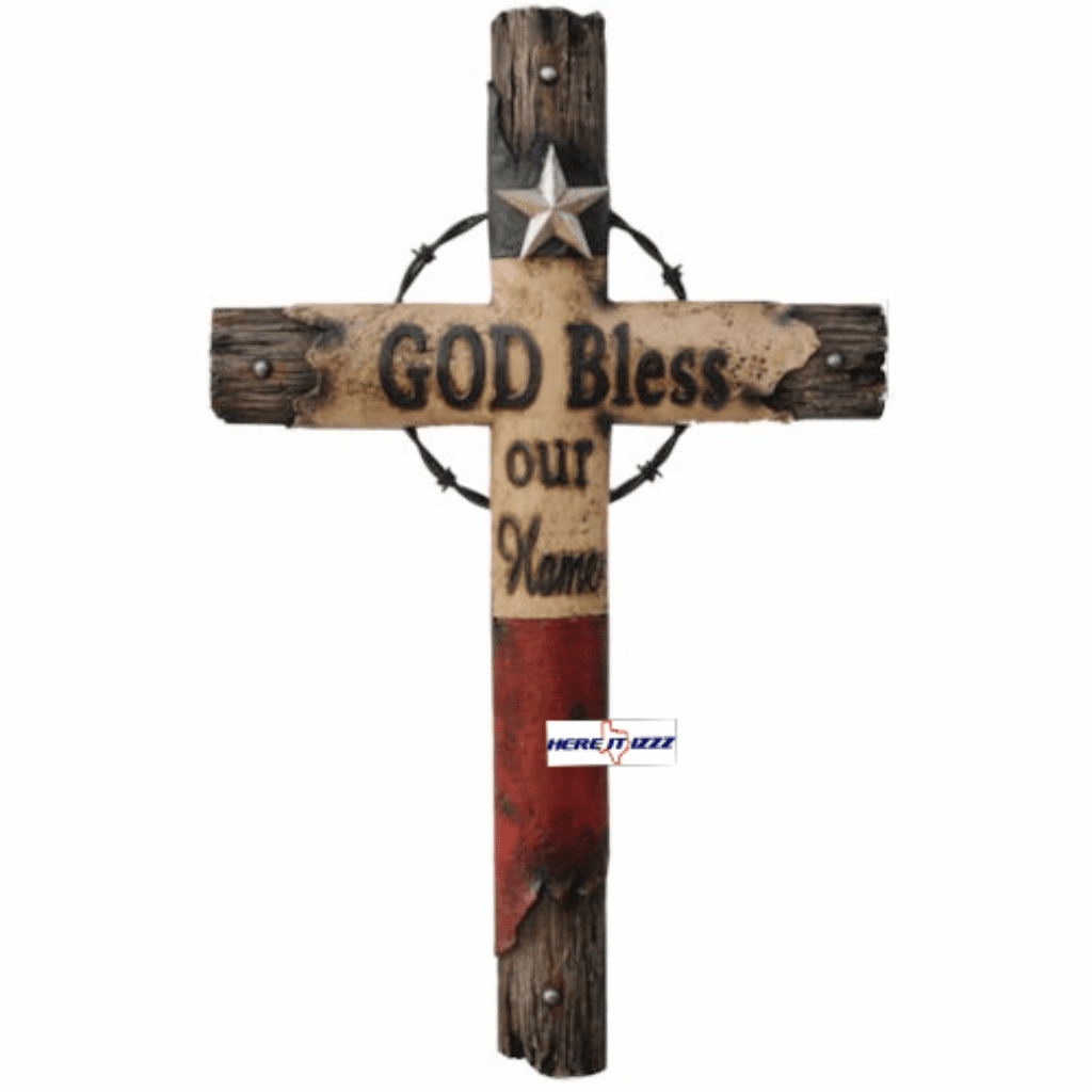 Texas God Bless Our Home Cross