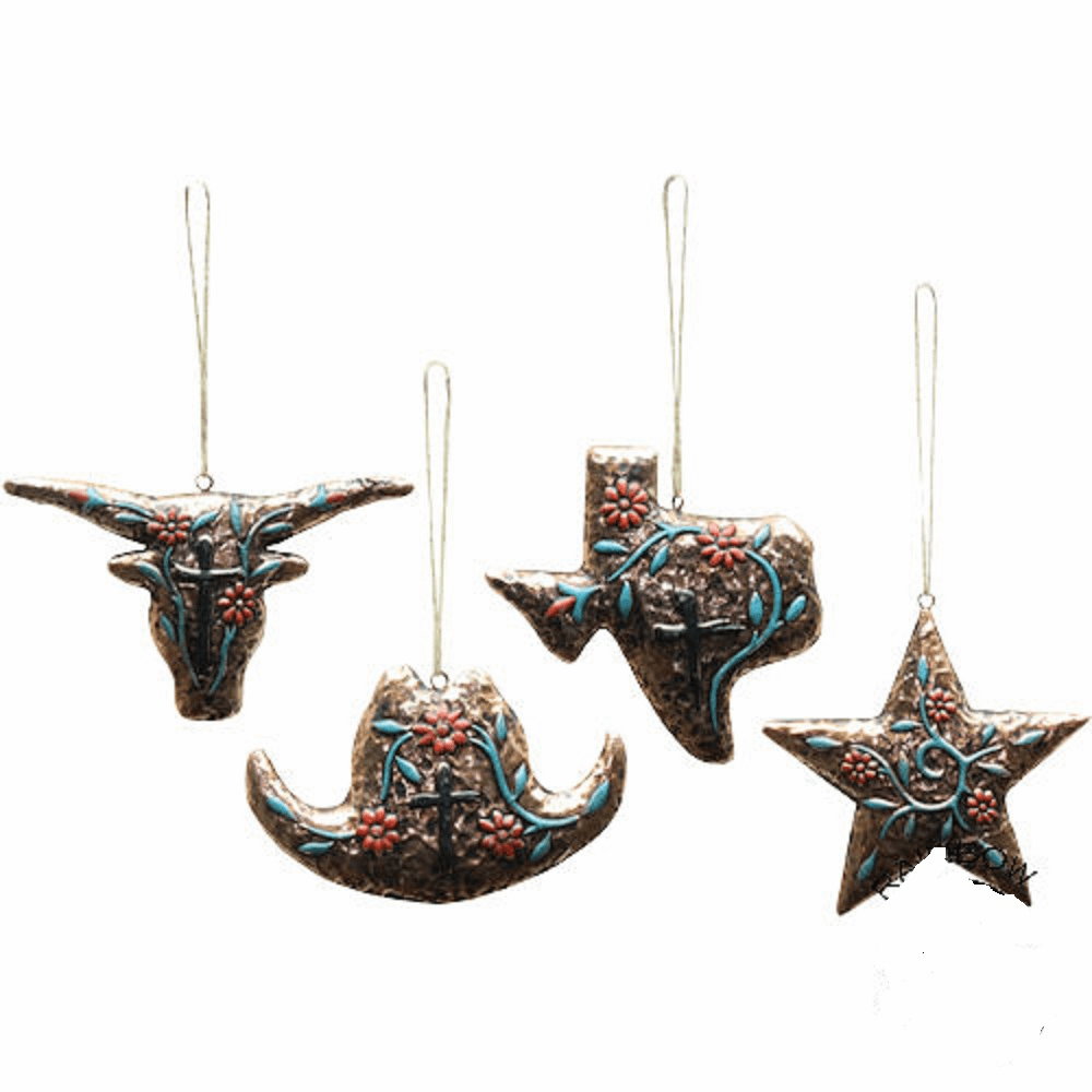 Texas Gold 4 Piece Ornament Set