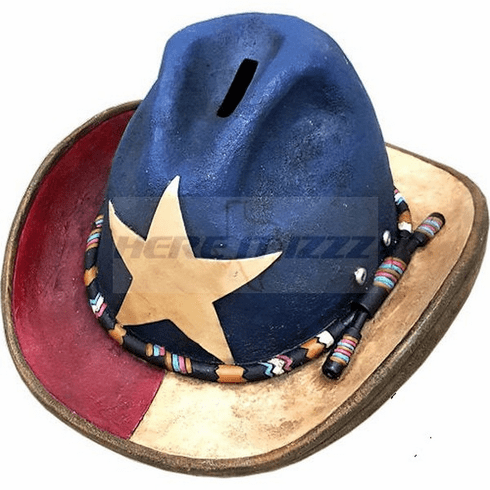 Texas  Lone Star Cowboy Hat Coin Bank