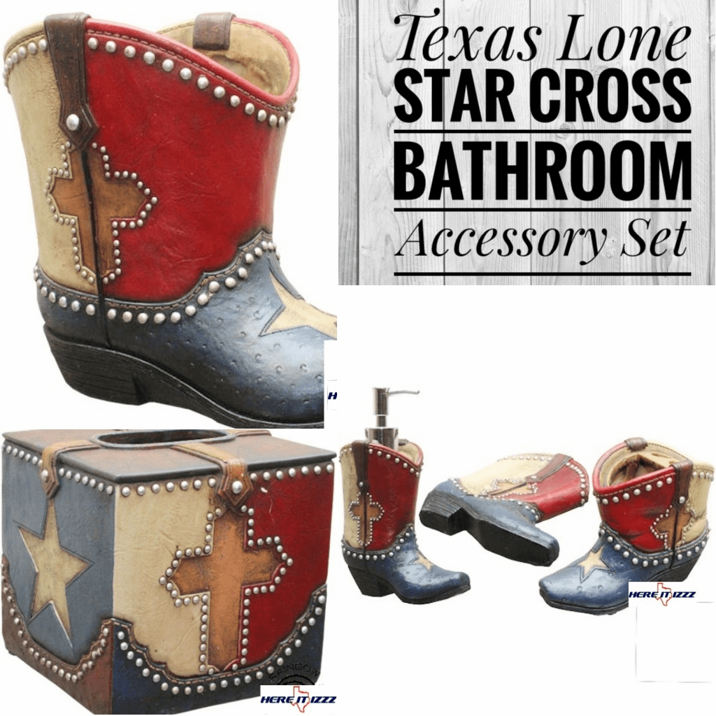 Texas Lone Star Cross Complete Bathroom Set