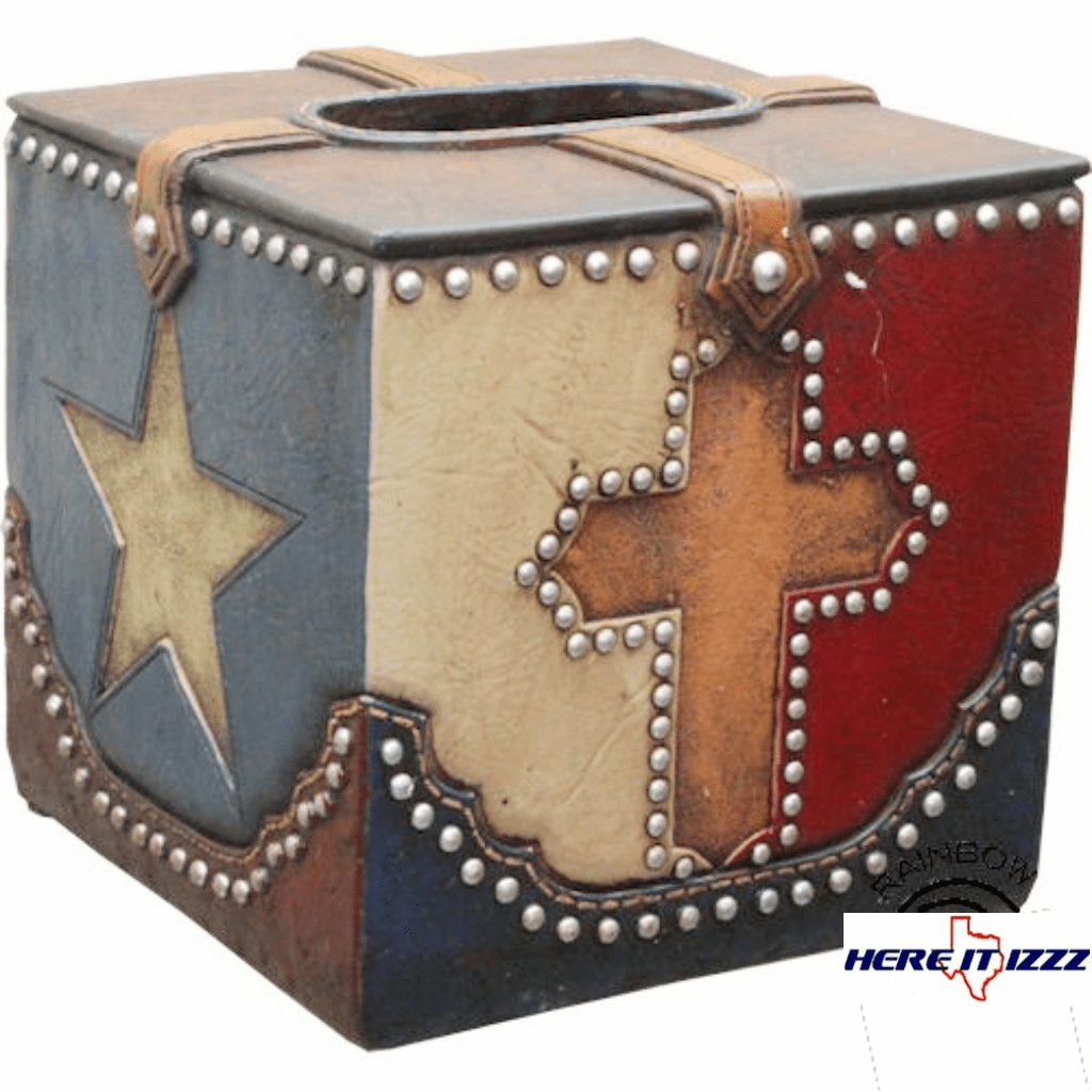 Texas Lone Star Cross Tissue Box