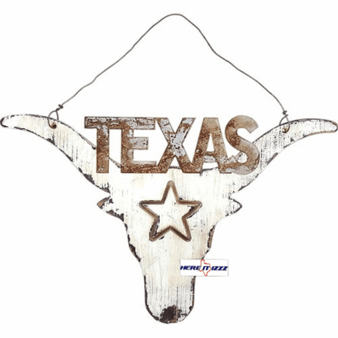 Texas Longhorn Skull Wooden Wall Hanging