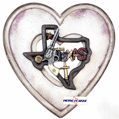 Texas Pink Pistol Heart Wall Plaque