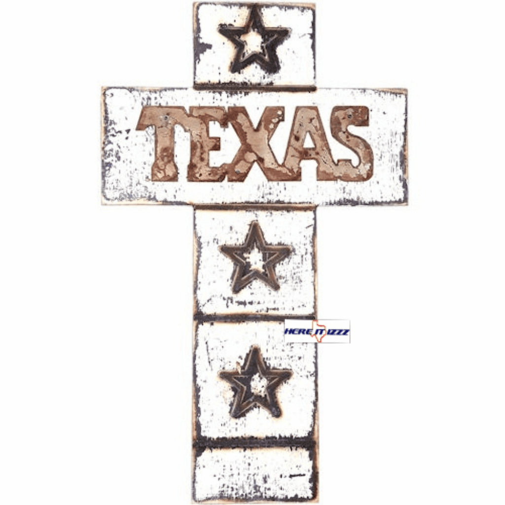 Texas Star Whitewashed Wood Wall Cross