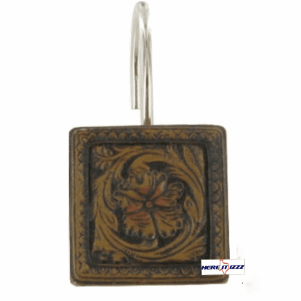 Tooled Leather 12 Piece Shower Hooks