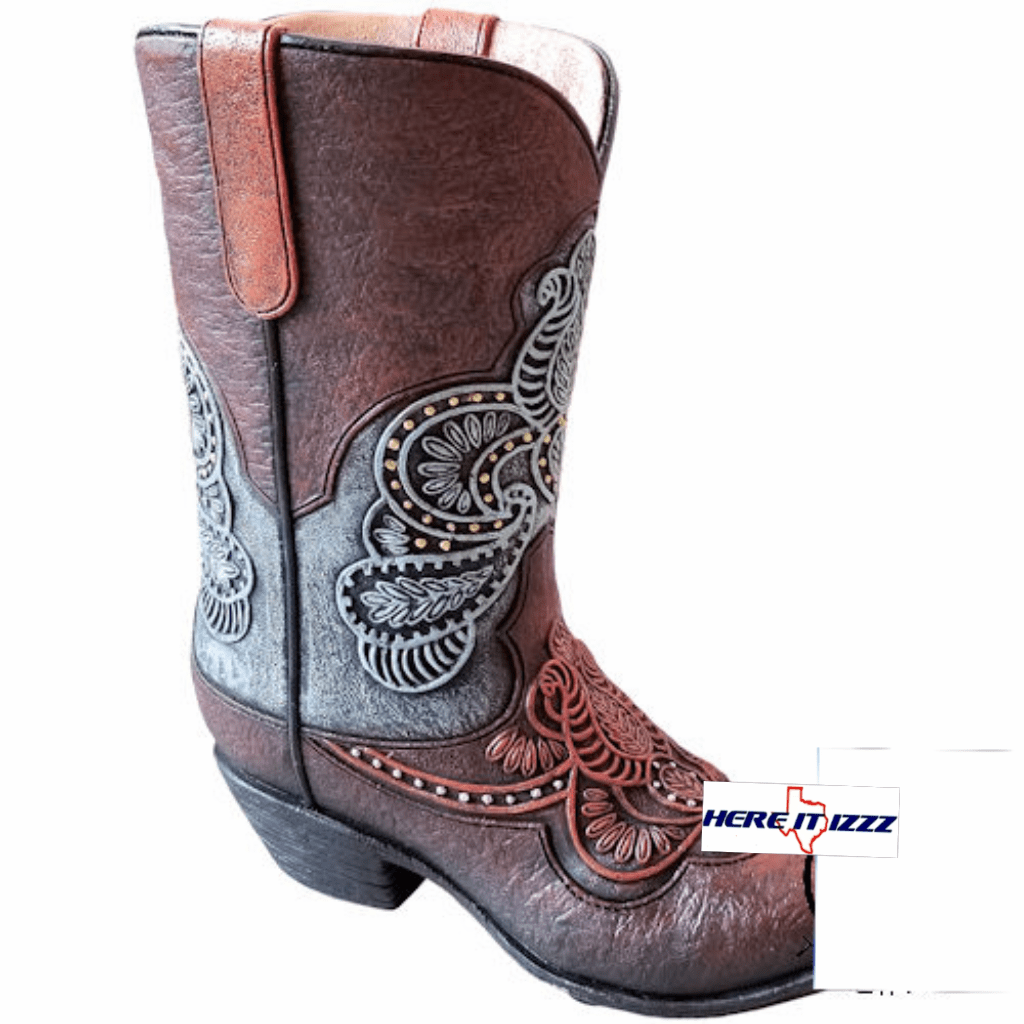 Tooled Leather Look Cowboy Boot Vase
