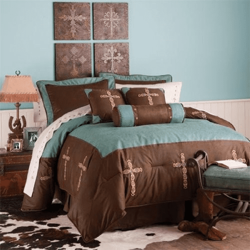 Tooled Turquoise Cross 7 Piece Comforter Set  Full