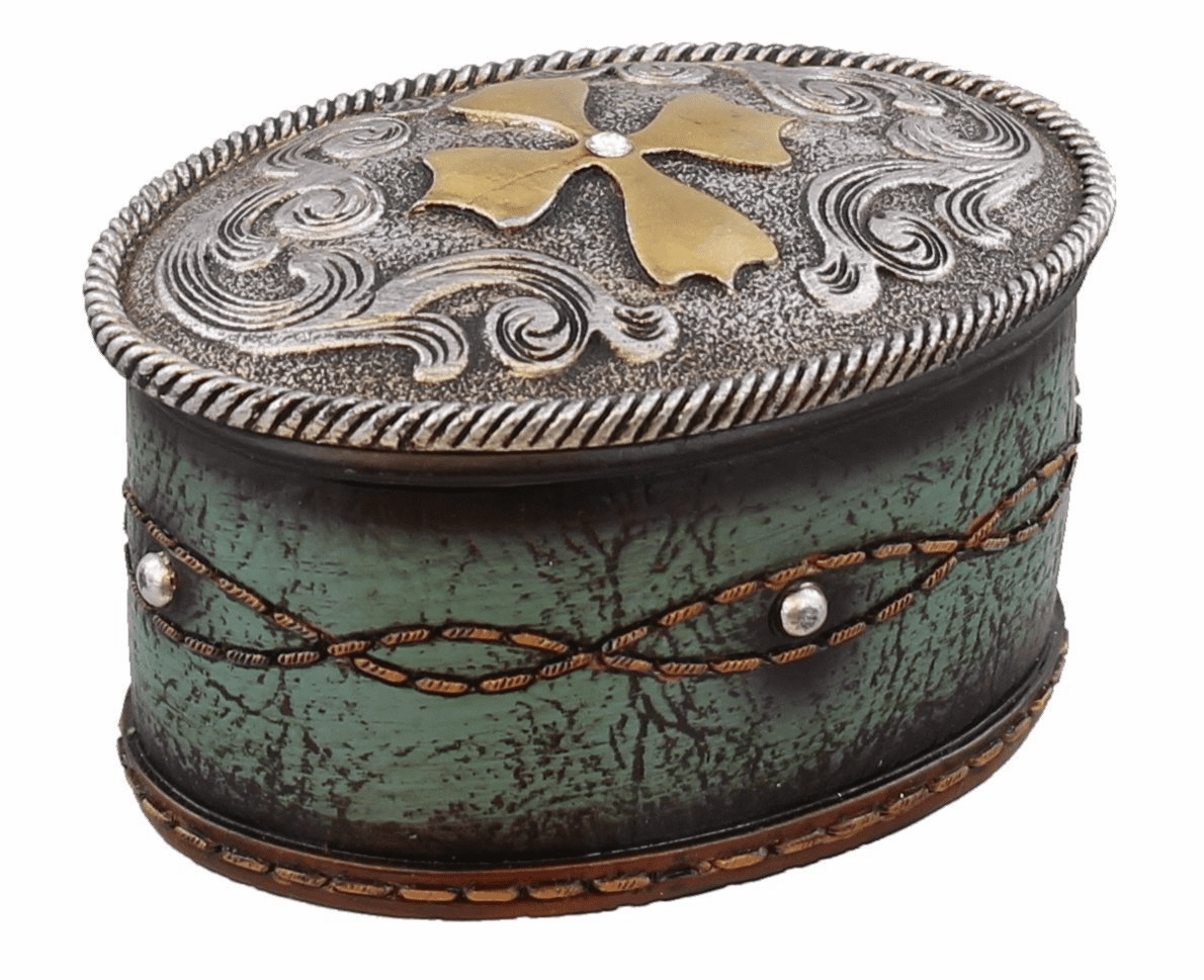 Tooled Turquoise Cross Jewelry Trinket Box