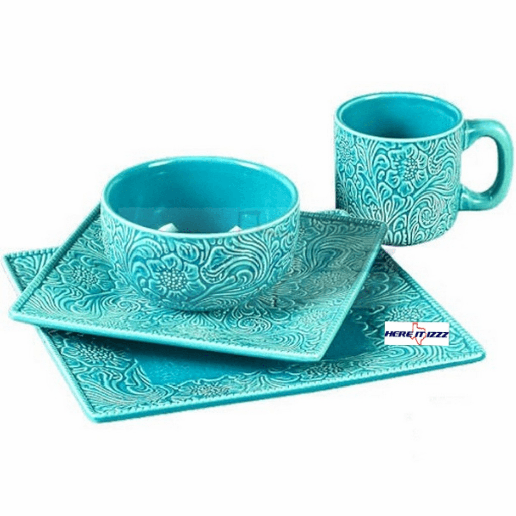 Tooled Turquoise  Dinnerware Set