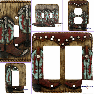 Turquoise Boot Switch Plate and Outlet Covers