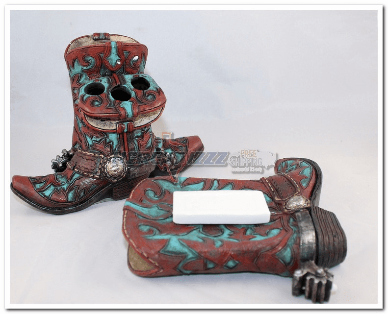 Turquoise Burgundy Cross Cowboy Boot Vanity Set