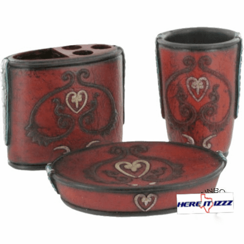 Turquoise Burgundy Heart 3 Piece Vanity Set
