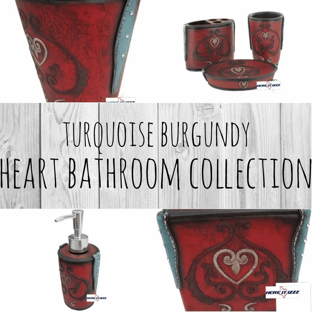 Turquoise Burgundy Heart Bathroom Collection