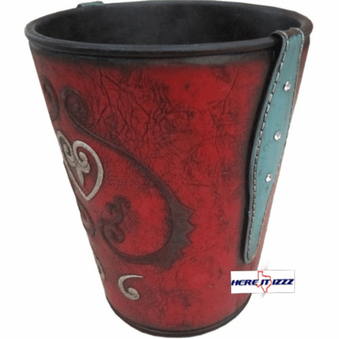 Turquoise Burgundy Heart Trash Can