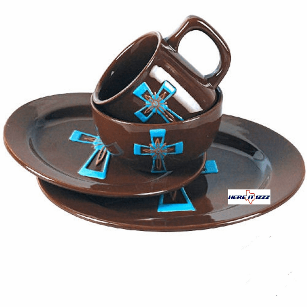 Turquoise Cross  Dinnerware Set