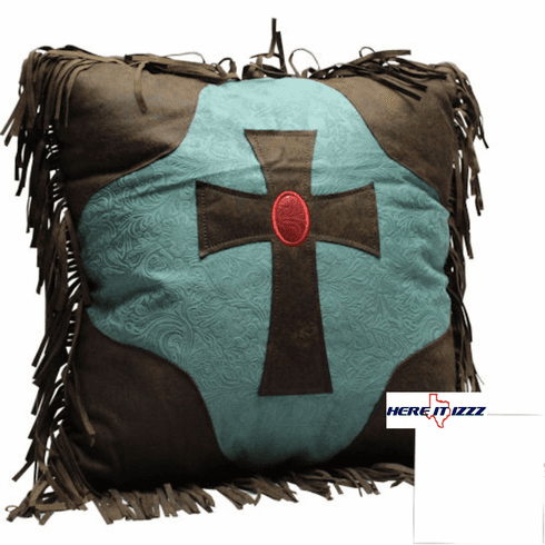 Turquoise Cross  Pillow