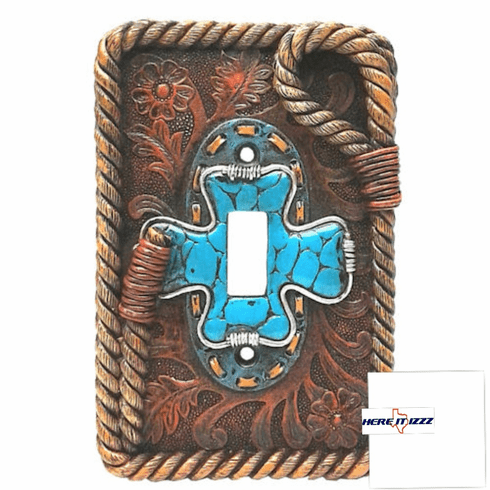 Turquoise Cross  Single Switch Cover