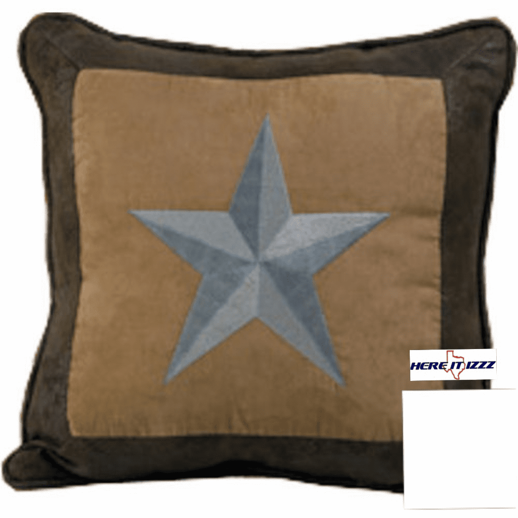 Turquoise Embroidered Star Pillow