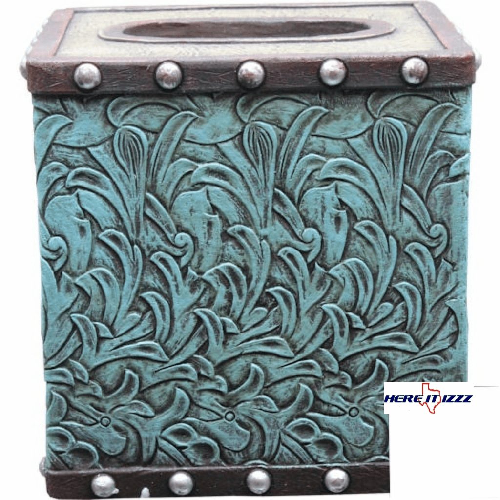 Turquoise Flower Tissue Box Cover.