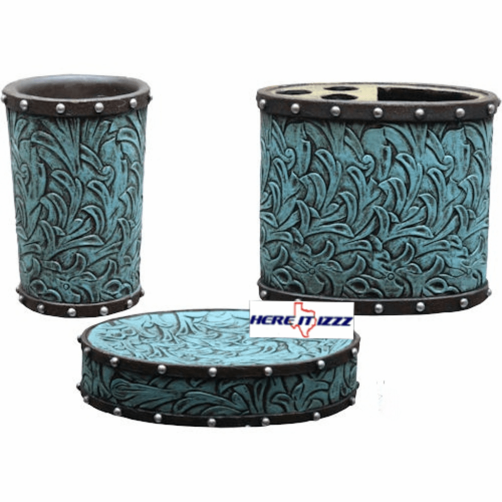 Turquoise Flowers 3 Piece Vanity Set