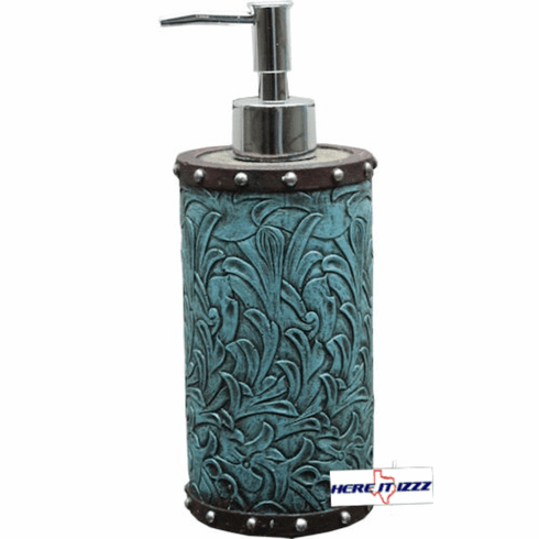 Turquoise Flowers Soap Pump