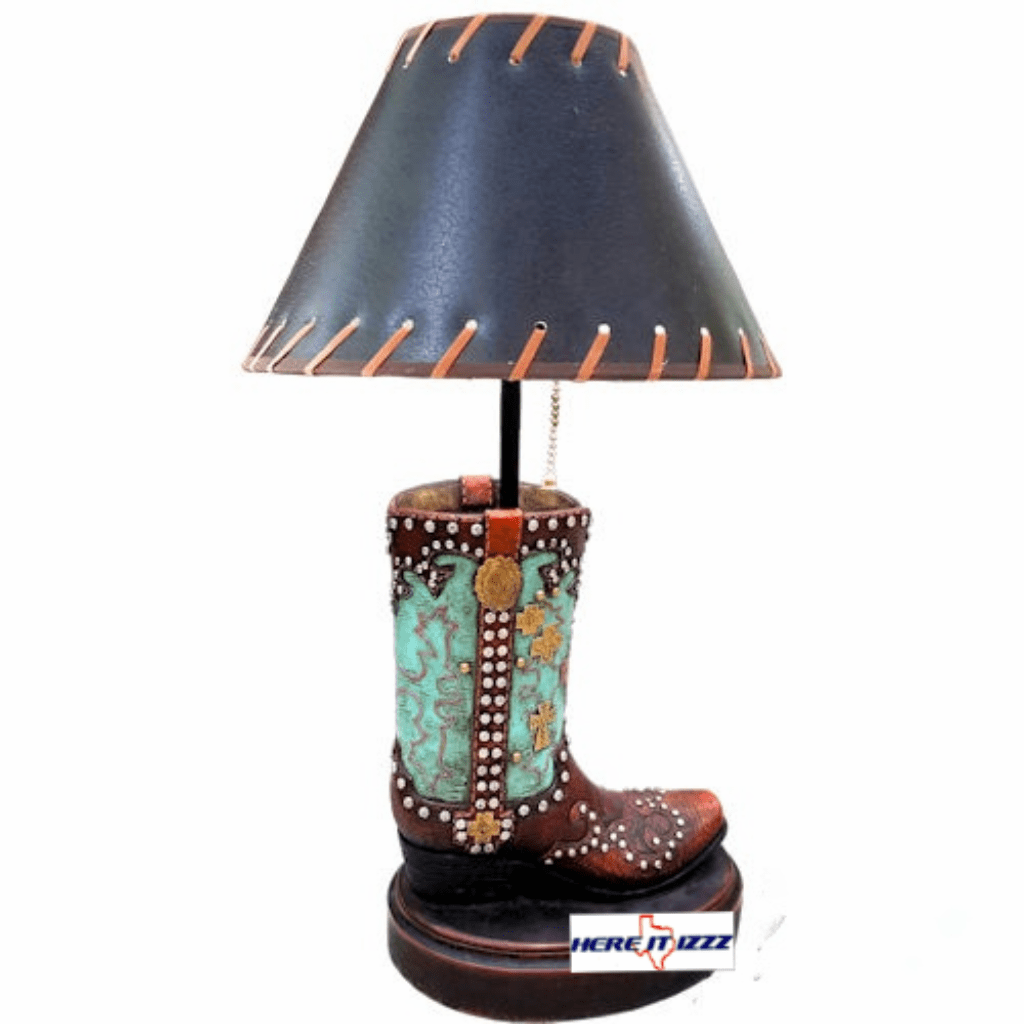 Turquoise Gold Cross Cowboy Boot Lamp