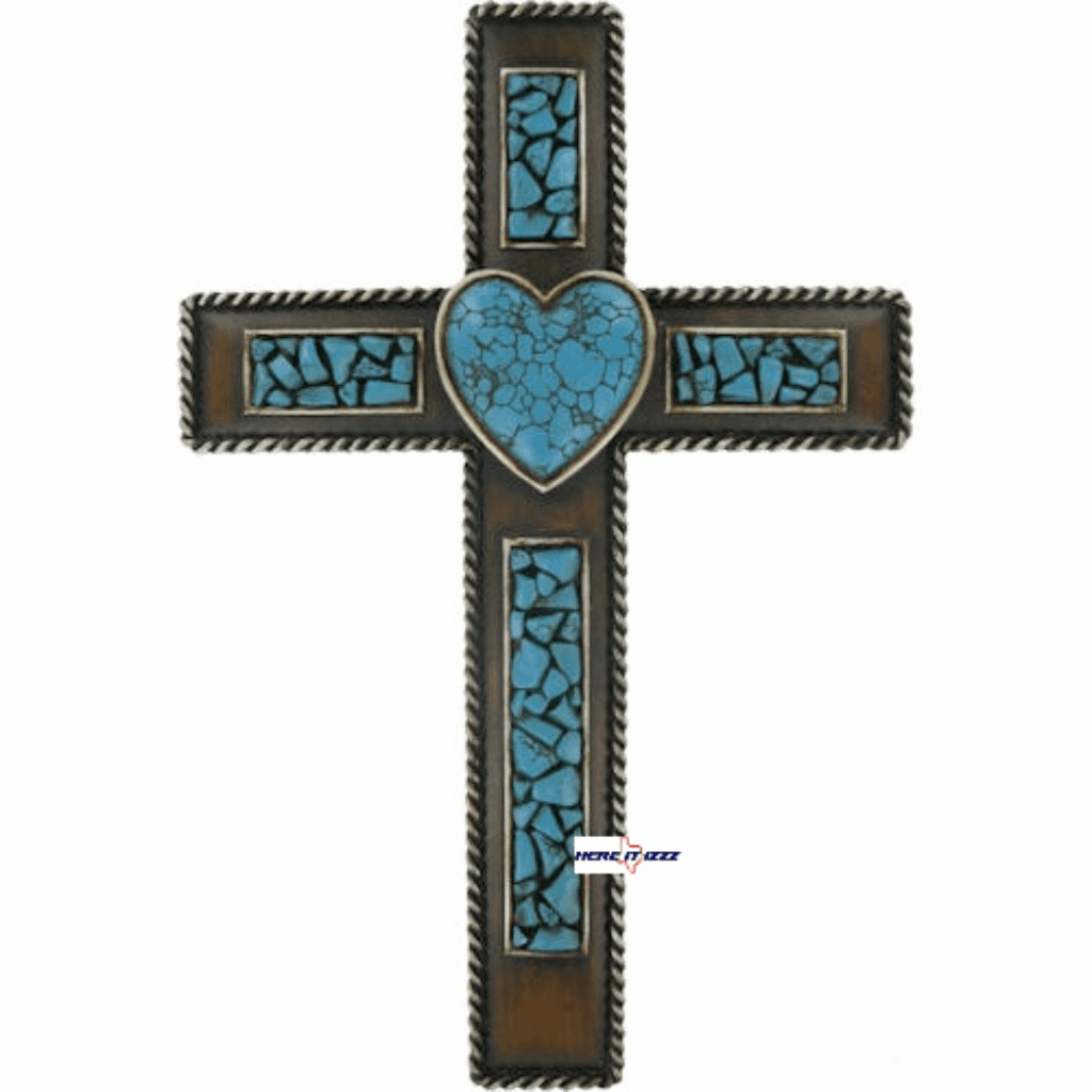 Turquoise Heart Wall Cross