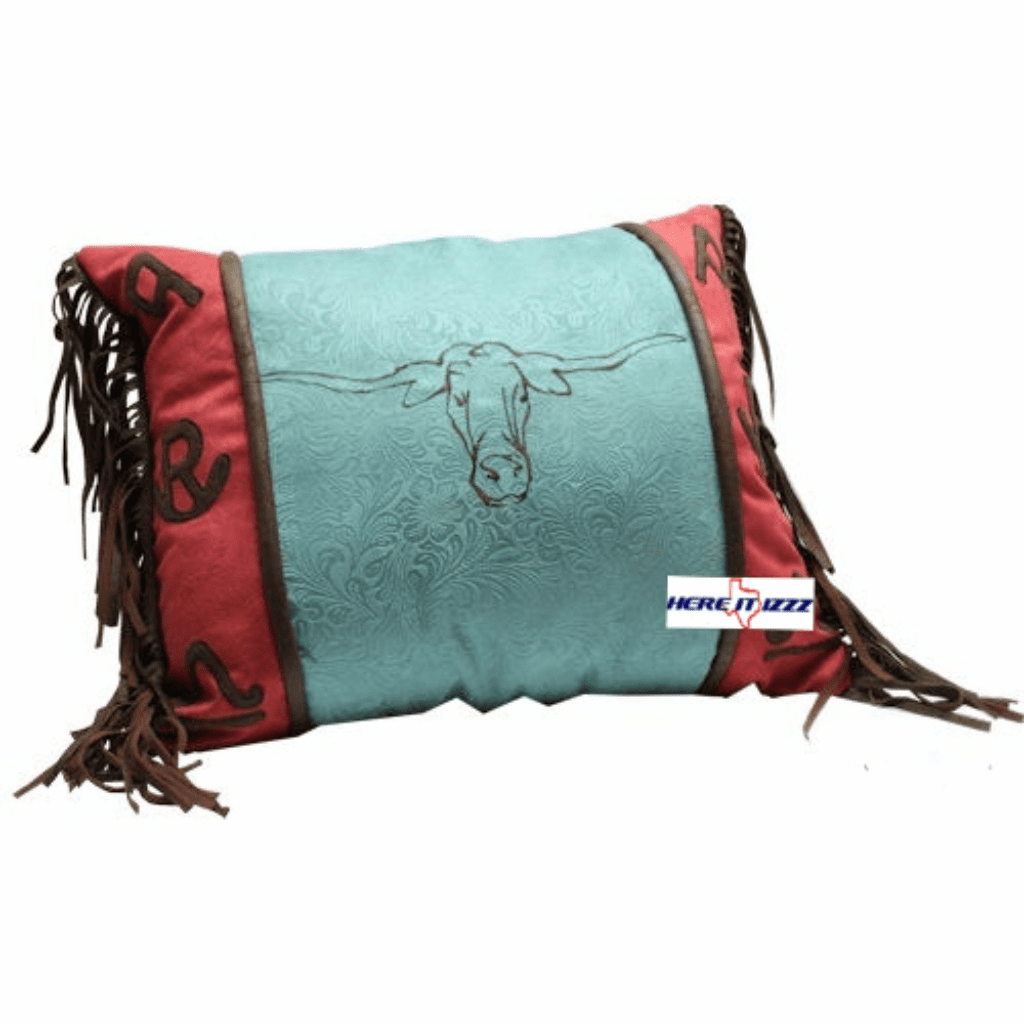 Turquoise Longhorn Pillow